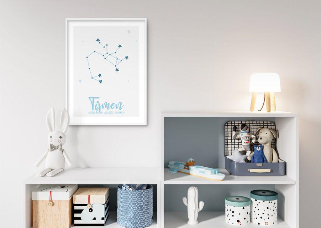 sterren blauw babykamer