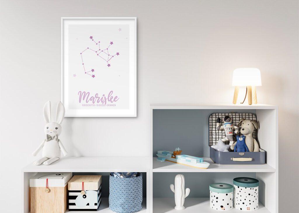 sterren roze babykamer