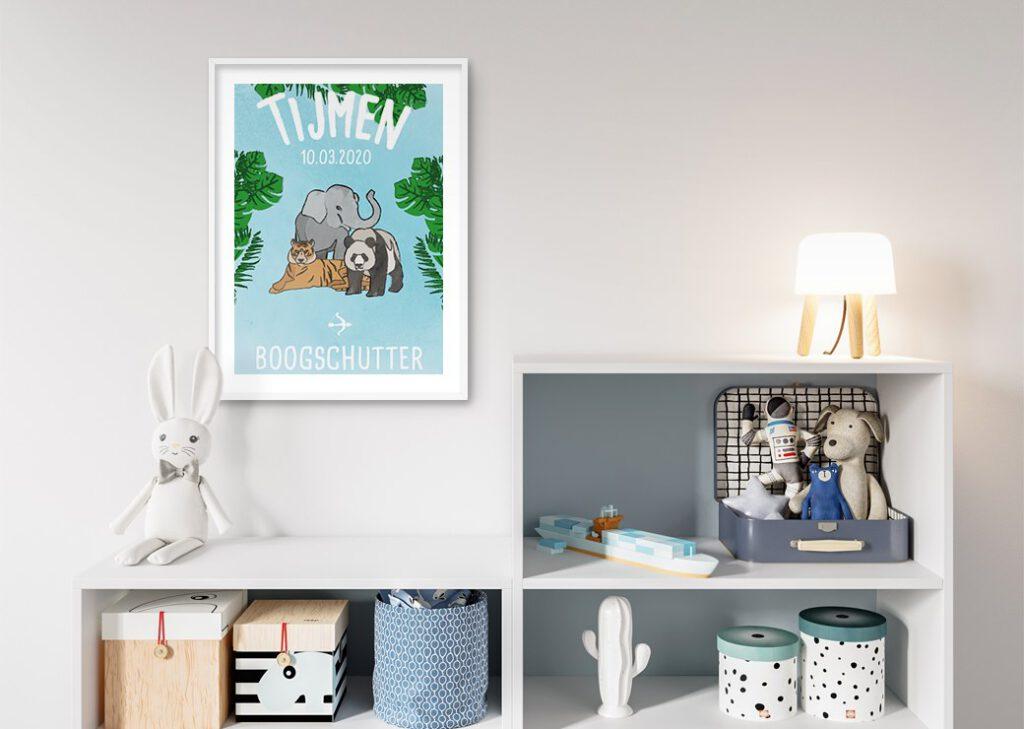 dieren blauw babykamer