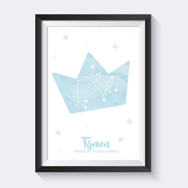 geboorteposter sterrenbeeld en kroon blauw
