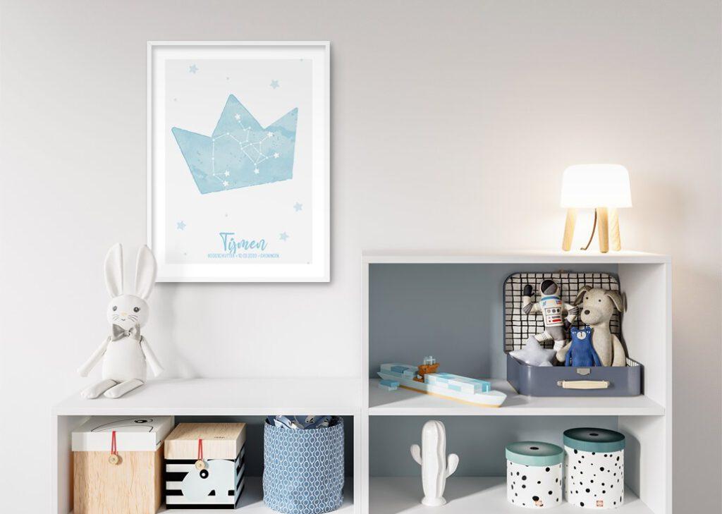 kroon blauw babykamer